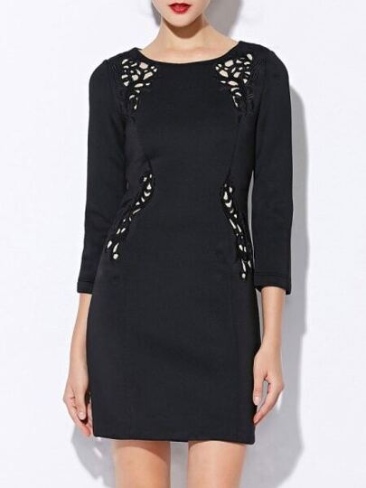 Black Round Neck Length Sleeve Hollow Embroidered Dress