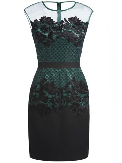 Dark Green Round Neck Sleeveless Contrast Gauze Embroidered Dress