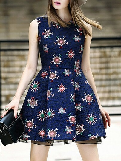 Navy Round Neck Sleeveless Jacquard Print Dress