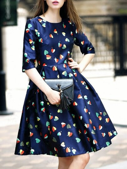 Navy Round Neck Half Sleeve Print Dress