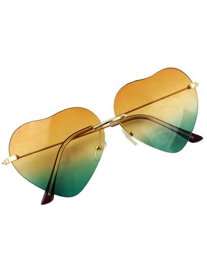 Yellow Heart Shape Women Sunglasses