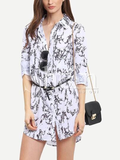 White Long Sleeve Vintage Print Dress