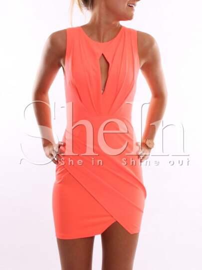 Orange Sleeveless Bodycon Dress