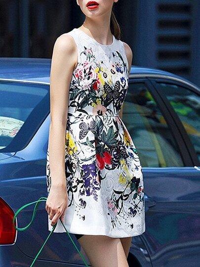 Vestido cuello redondo sin manga flores -blanco