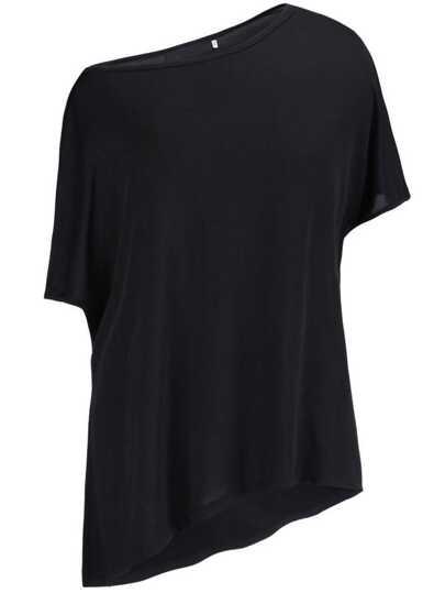 Camiseta asimétrica manga corta -negro