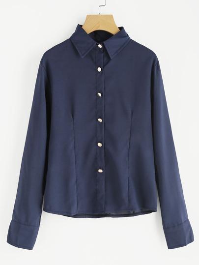 Blusa solapa cremallera botones -azul