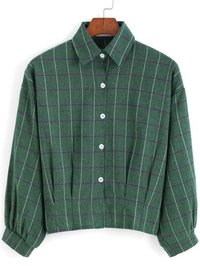 Camicia a quadri con risvolto verde