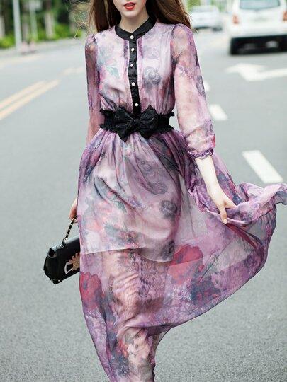 Vestido cuello redondo lazo estampado -violeta