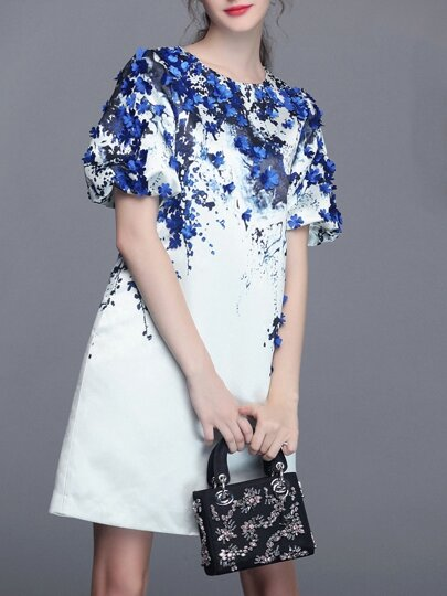 Vestido cuello redondo manga corta flores -blanco