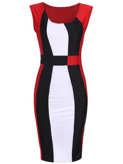 Sleeveless Bodyform Color-block Slim Dress