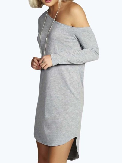 Oblique Shoulder Pima High Low Grey Shouldered Dress