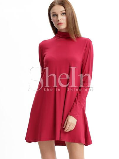 Wine Red Burgandy Long Sleeve Casual Dress