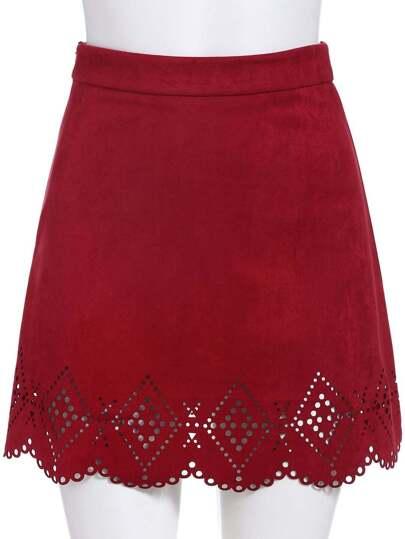 falda línea A hueco cremallera-rojo
