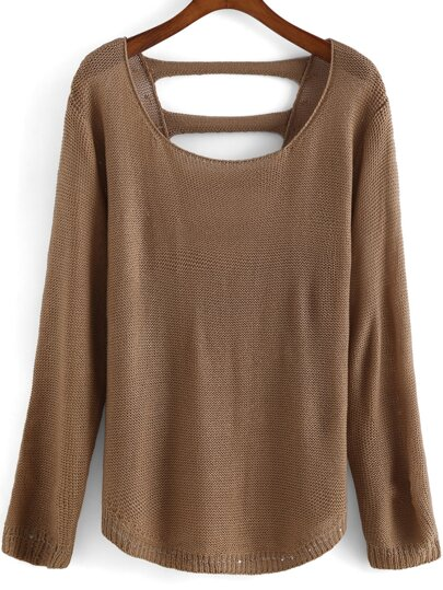 Round Neck Hollow Khaki Sweater