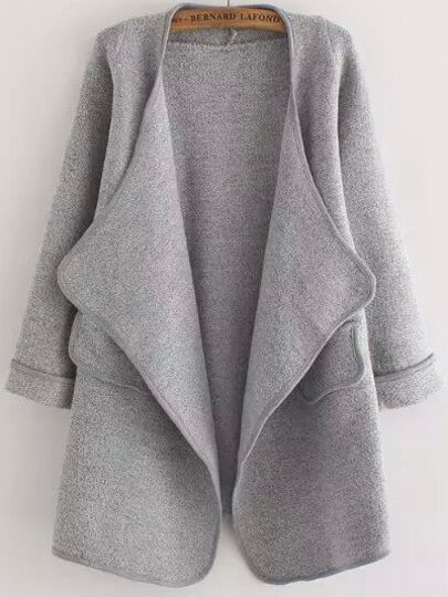 Grey Long Sleeve Stitch Pocket Loose Cardigan