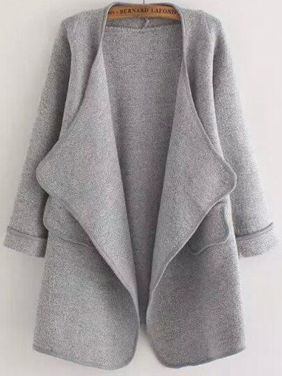 Cárdigan manga larga bolsillo suelto -gris