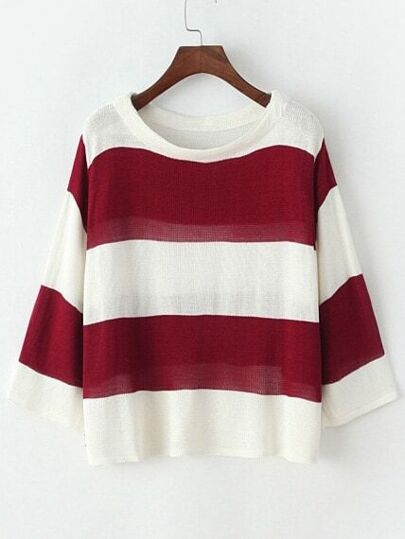Jersey cuello redondo rayas tejido -rojo blanco