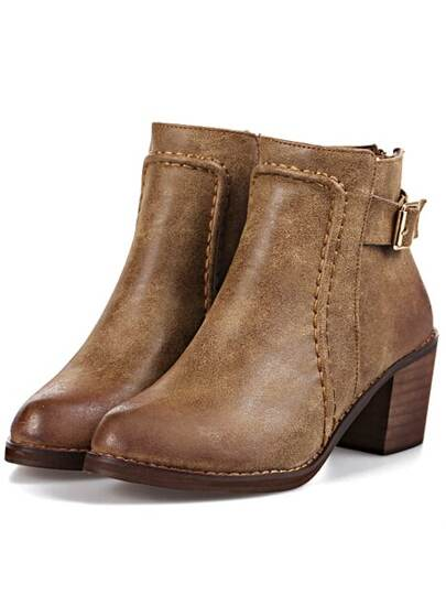 Brown Chunky Heel Buckle Strap Boots