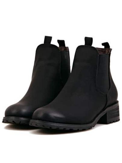 PU Boots Rund mit Blockabsätzen-schwarz