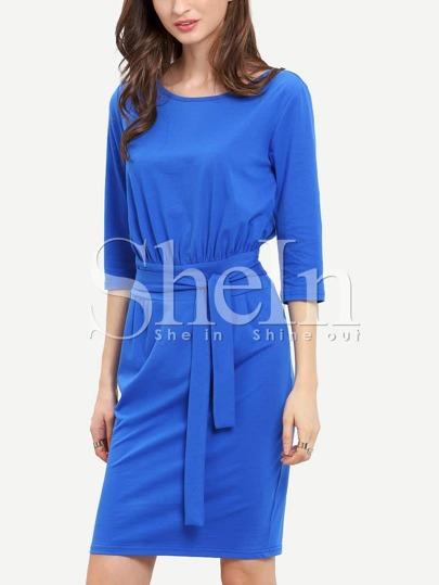 Blue Half Sleeve Belt Dress