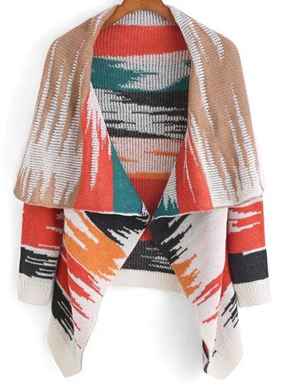 Multicolor Lapel Print Coat