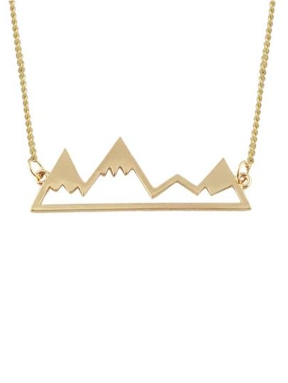 Gold Short Mantain Pendant Necklace