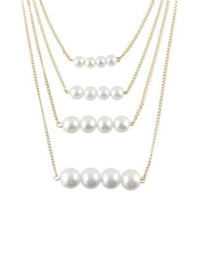 Gold Plated Multilayers Pearl Necklace