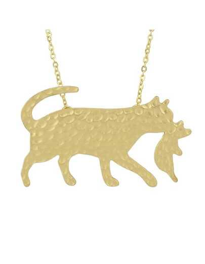 Gold Vivid Wolf Pendant Necklace