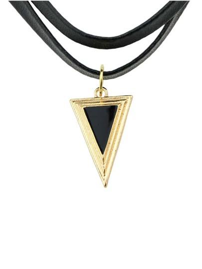 Black Pu Leather Spike Necklace