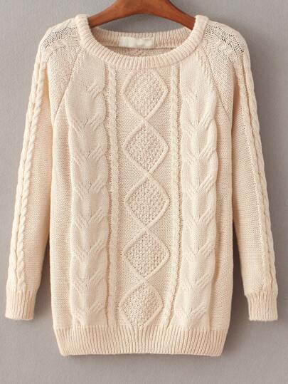 Cable Knit Loose Apricot Sweater