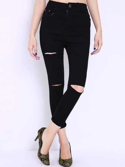 Ripped Slim Denim Black Pant