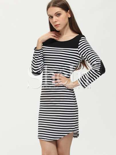 White Black Pullover Long Sleeve Striped Dress