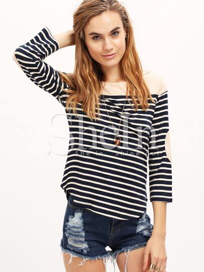 White Navy Long Sleeve Striped T-Shirt
