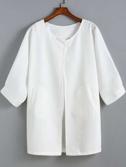 White Round Neck Pockets Loose Coat