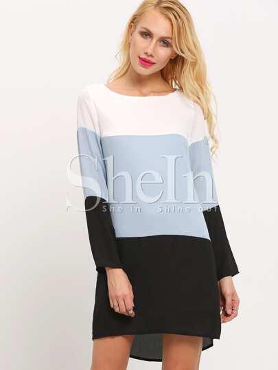 Black White Pullover Long Sleeve Color Block Dress