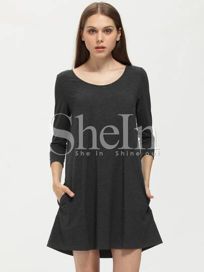 Grey Charcoal Long Sleeve Pockets Dress