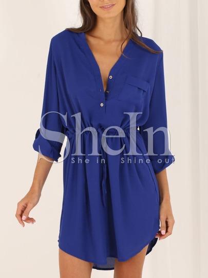 Blue Colbalt Surplice Blouson Long Sleeve V Neck Dress