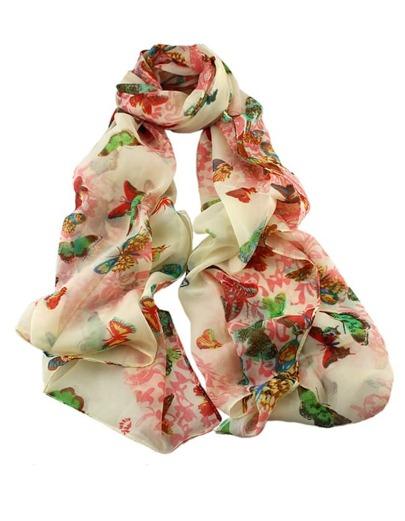 أوشحة وردية خضراء طباعة الفراشة والزهور