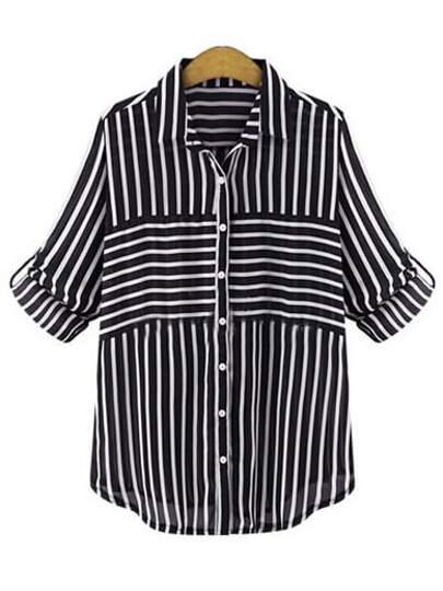 Black Lapel Striped Blouse