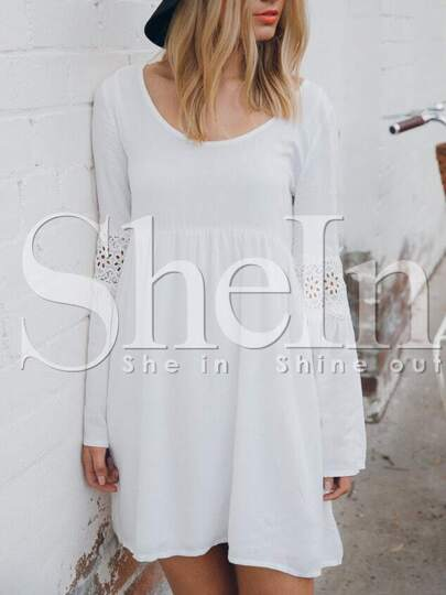 White Flutter Long Sleeve With Lace Dress