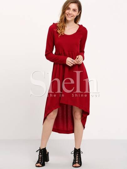 Wine Red Hooded Hoodie Asymetric Long Sleeve High Low Dress