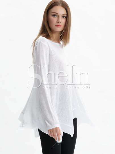 White Long Sleeve Asymmetric T-shirt