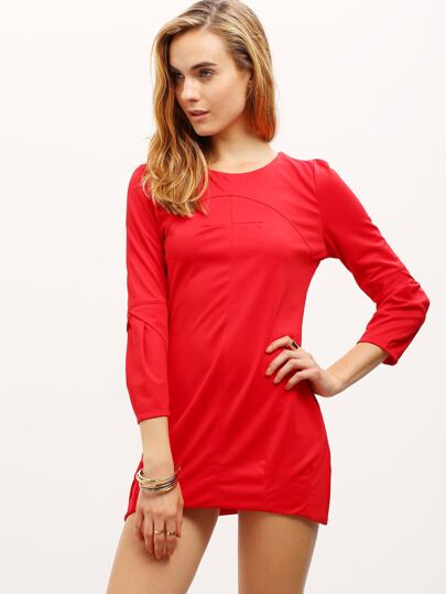 Red Ruby Round Neck Zipper Back Elegantly Loose Dress