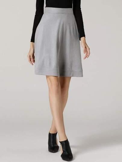 Falda cintura alta línea A -gris