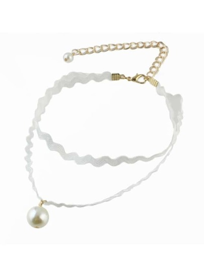 White Elastic Rope Pearl Necklace