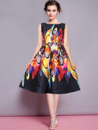Multicolour Sleeveless Iridescent Florals Flare Dress