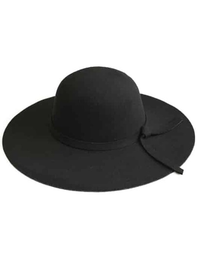 Black Wide-Brim Wool Boater Hat