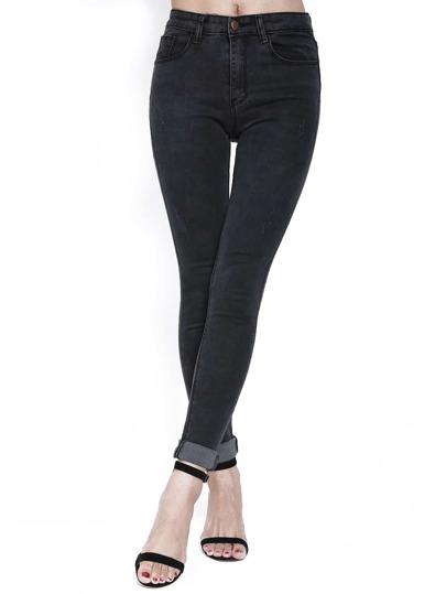Black Slim Ripped Denim Pant Stylish Cosy Curved Jeans