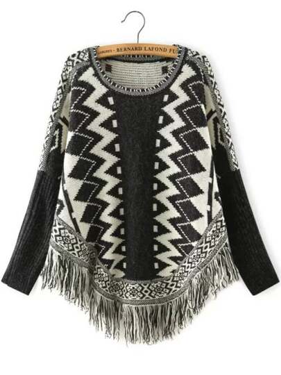 Black White Geometric Print Batwing Tassel Sweater