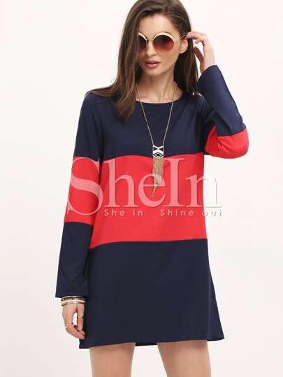 Navy Long Sleeve Color Block Dress